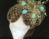 Gold fascinator,Teal fascinator, mother of the bride, Summer wedding, wedding hat, beige fascinator, antique gold
