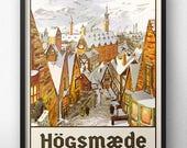 Affiche de voyage de Poudlard - Style rétro Vintage - inspiré par Harry Potter