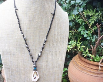 Shell Polymer Necklace, Polymer Necklace, Macrame Necklace, Beach Necklace, Long Necklace, Tribal Necklace, Ethnic Necklace, Gypsy Necklace