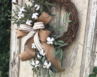Cotton Wreath, Cotton Boll Wreath, Preserved Cotton Wreath,Summer Wreath, Year round Wreath, Primitive Wreath, Front door Wreath,Door Wreath