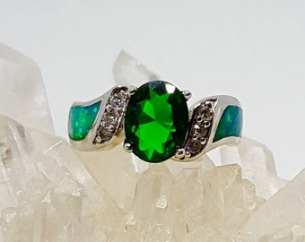 Emerald and Opal Ring