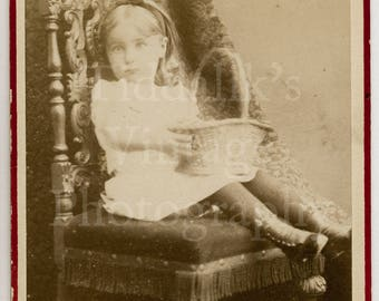CDV Carte de Visite Photo Victorian Young Pretty Little Girl, Alice Hair Band with Basket, Identified  - London England - Antique Photograph