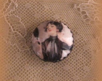 Large Pearl porcelain 27-28mm, retro woman black character, creative composition of jewelry supplies