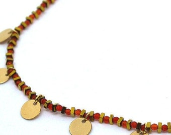 Choker with pendants plated gold
