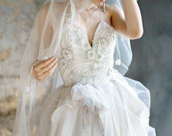 PILVIA / Couture Wedding Dress Premium Materials silk tafetta Designer Bridal gown Couture fashion dress High End Wedding handmade Embroided