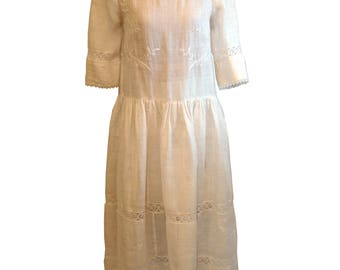 Embroidered white linen drop-waist dress made from antique lace & fabric
