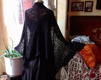 Large handknit shawl for Summer, black, linen-cotton