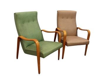 Pair of Mid-Century Danish Modern Thonet Bentwood Arm Lounge Chairs