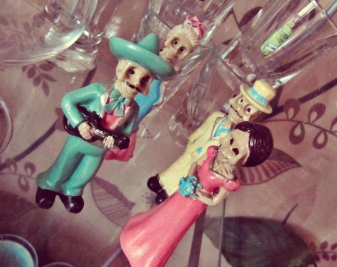 Día de los Muertos Miniature - Boho Mexican Altar - Sugar Skull Ceramic Skeleton Dolls - Day Of the Dead Decor - Mexican Art - In Stock