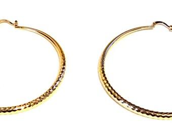 Gold Plated Textured Hammer Hoop Earrings 2.25 inch Hoop Earrings