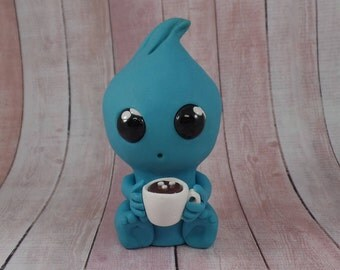 Tifanni   Coffee Drinking Monster   Handmade Clay Monster  Cute Blue Monster Sculpture   Cute Monster Cake Topper   Unique  Monster Gift