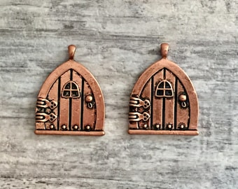 2pcs Copper Fairy Door Charm Pendants, Gnome Door, Forest House, Elf House  Fairy