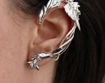 Unique ear cuff, leaves earrings, sterling silver ear cuff, ear wrap, designer jewelry, modern jewelry, unusual jewelry, wedding earrings