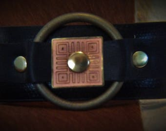 Black Recycled Leather Bracelet W/Geometric Copper Design