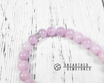 Kunzite Bracelet - Beaded Gemstone Bracelet, Natural Kunzite Jewelry, Lilac Pink Bracelet, Fine Jewelry, Crystal Bracelet