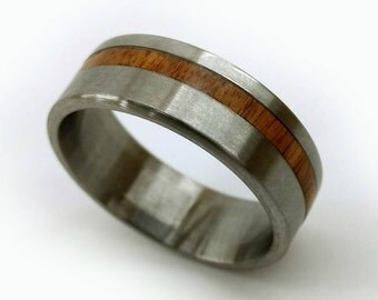 Teak Ring, Titanium Teak Ring, Teak Jewelry, South American Ring, Durable Wood Ring, Wood Wedding Band, Mid Century Teak, Stabilized Ring