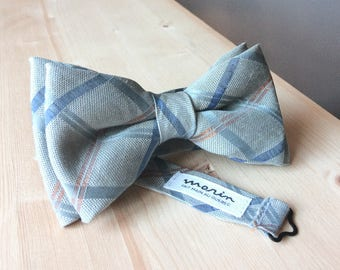 Bowtie - light blue with blue and bronze stripes - pre-tied - classy gentleman - groom - unique