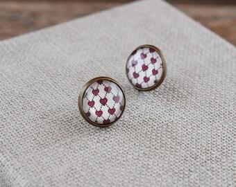 Tiny heart earrings, Heart stud earrings, Red hearts earrings, Tiny heart studs, Small hearts post earrings, Love earrings, Geometric GJ 076