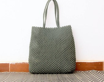 Handbag, macrame boho bag, handmade woven bag, a beach bag or summer bag for the city or vacation in weaving black, gray or khaki/gray green