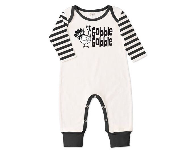 Newborn Thanksgiving Romper Black and Ivory, Baby Boy and Girl Thanksgiving Bodysuit, Turkey, Black Stripes, Gobble, Tesababe RP810IYIB007C
