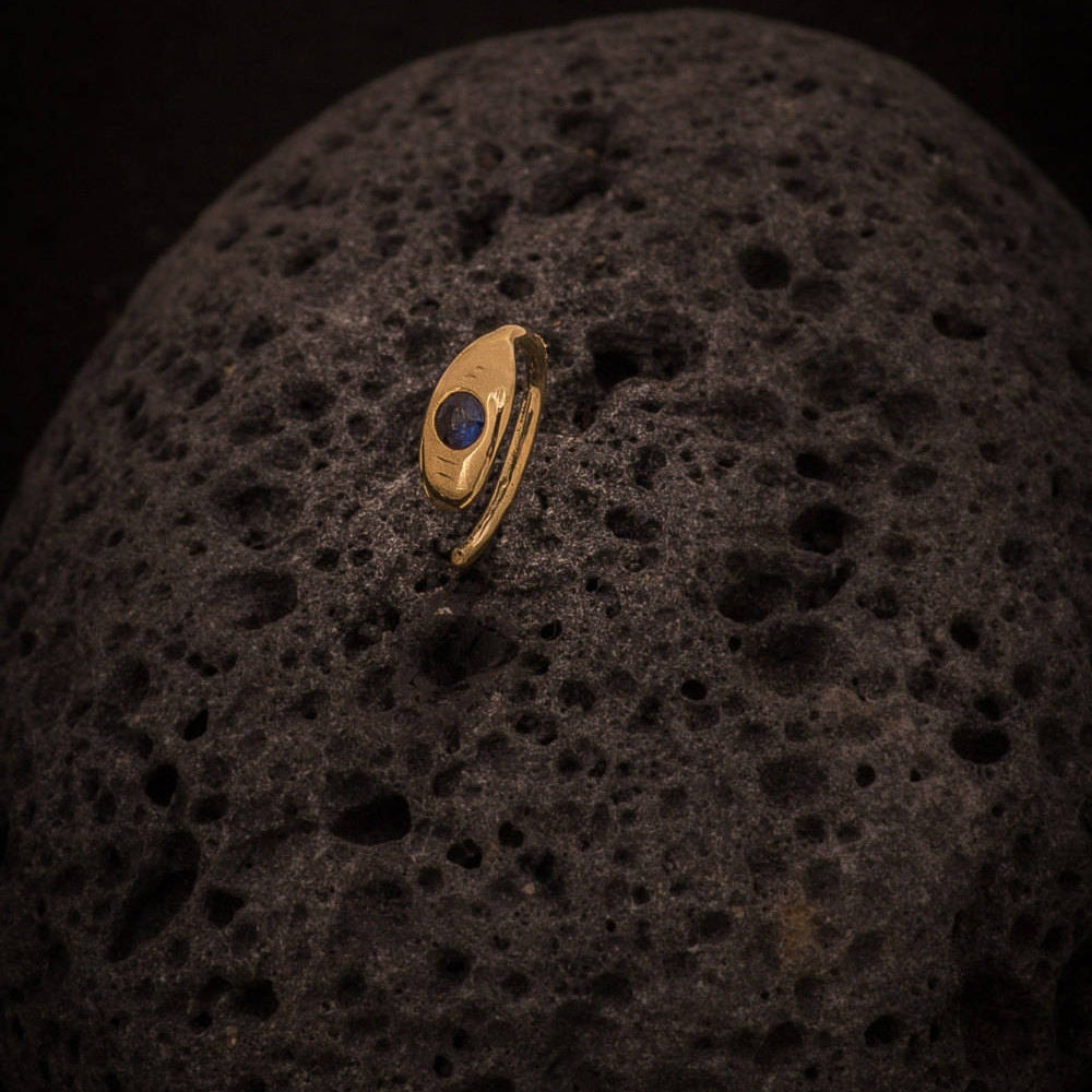 Gold Nose Ring Nose Ring Oval Set With Blue Sapphire Stone