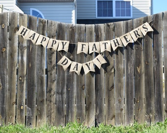 Father's Day Burlap Bunting Banner- Fathers Day Decor- Holiday Decor- Personalized Banner- Dad- We Love Dad- Wall Decor- Dad Banner