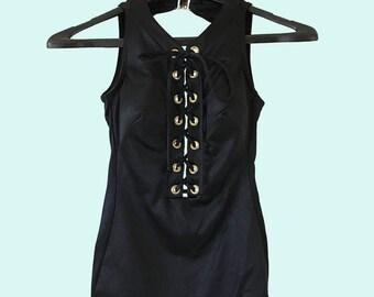 Black Open Back Laze up Front Body Suit