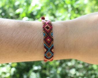 Boho Aztec Friendship Bracelet - maroon tan raspberry light brown blue