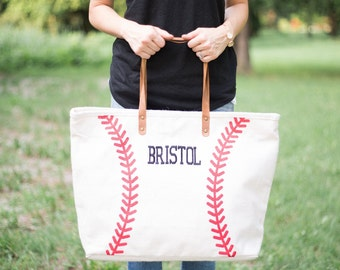 Leather Handle Baseball Tote | Monogram Tote | Baseball Bag | Jute Tote | Baseball Mom | Baseball Wife | Baseball Girlfriend | Gift for Her