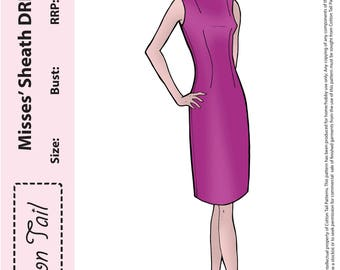 60's inspired PDF Sewing Pattern Cotton Tail 1600 Misses' SHEATH DRESS Bust 76cm-112cm