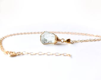 Raw Aquamarine Necklace, Gold Aquamarine Pendant Necklace, Raw Crystal Necklace, Wire Wrapped Raw Stone Necklace, March Birthstone Jewelry