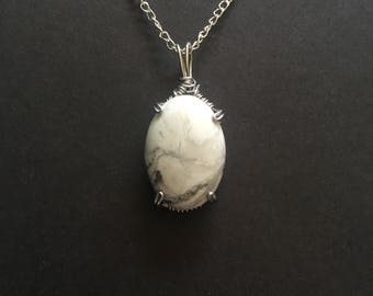 Wrapped White Turquoise Natural Stone Necklace
