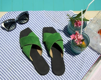 Women Leather Sandals / Green Flat Shoes / Clogs / Slip On Shoes / Mules / Flip Flops / Summer Open Shoes - Peep Toe Designer Sandals - X