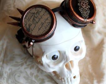 """Goggles steampunk cuivrées et piques """"L'écrivain"""""""