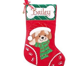 Personalised Dog Pet with Bone Christmas Stocking