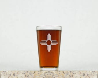New Mexico Pint Glass | Pint Glasses, Beer Glasses, New Mexico Glass, Drinking Glasses, New Mexico Beer Glass