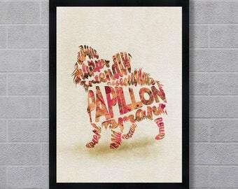 Papillon Dog Typographic Watercolor Painting, Papillon Art Print, Papillon Pet / Dog Memorial Wall Art, Creative Dog Portrait for Dog Lovers