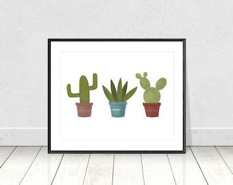 Cactus Print, Kitchen Art, Retro Cactus Print, Potted Cactuses