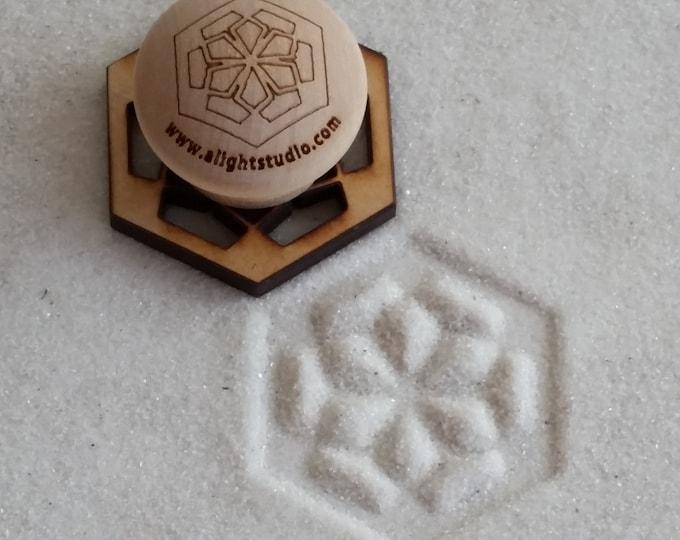 MINI Sand Stamp, Floral Hexagon Design, Zen Garden Stamp