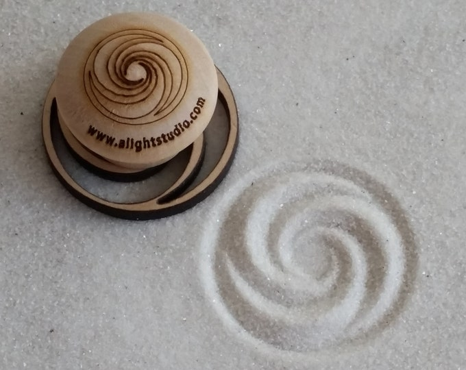 MINI Sand Stamp, Triple Fibonacci Design, Zen Garden Stamp