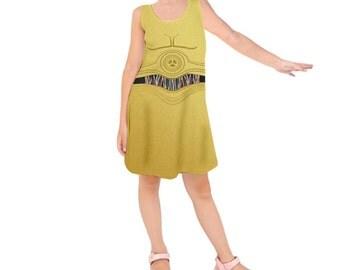 Kid's C3PO Star Wars Inspired Sleeveless Dress