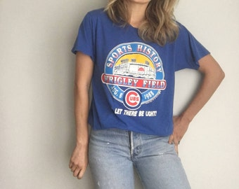 Vintage 80s Chicago Cubs Wrigley Field- Thin- Let There Be Light 1988 T Shirt - Medium