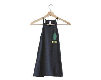 Hello Cactus High Neck Tank Top-Flowy High Neck Tank-Hipster Summer Tank-Festival Clothing-Womens Tank Tops