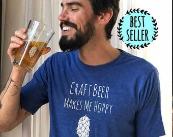 Craft Beer Makes Me Hoppy Mens T-Shirt, Beer Lover, Men's Graphic T-Shirt, Shirts with Sayings, Royal Blue