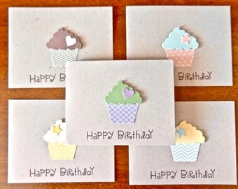 Birthday Card Set, Cupcake Birthday Note Cards, Birthday Stationary Card Set, Birthday Cards, Handmade Cards, Set of 5