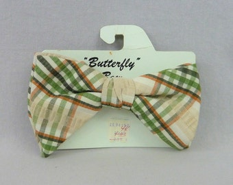 70s Plaid Bow Tie - Brown Green Cream - Butterfly Bow - Unworn on Card - Clip On - Vintage 1970s