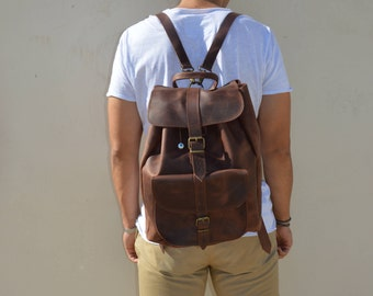 Professional Backpack, Laptop Backpack, Brown Leather Backpack Men, Made in Greece from Full Grain Leather, EXTRA LARGE.
