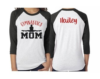 Glitter Gymnastics Mom Shirt |Baseball Shirt|3/4 Sleeve Raglan |Customize with your Colors