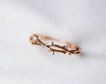 Diamond twig bud leaf ring 14K 18K gold wedding band engagement promise ring anniversary flower buds rose white gold  platinum 950 leaf band
