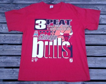 Vintage 90's 1993 Chicago Bulls 3-Peat NBA Champions T-Shirt Logo 7 XL Made in USA